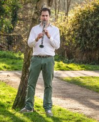 In the park, with my clarinet! Photo by James Heatlie