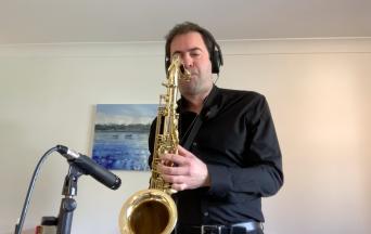 Me playing/recording sax during lockdown 2020.
