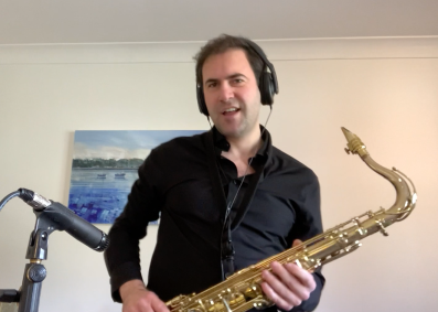 Me playing/recording sax and doing a little boogie during lockdown 2020.